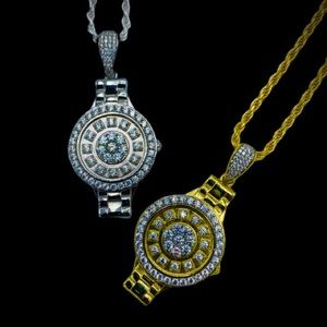 Other - 925 Sterling Silver Iced Watch Pendant